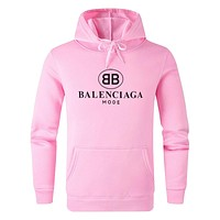 BALENCIAGA Autumn Winter Print Long Sleeve Hooded Sweater Top Sweatshirt Pink