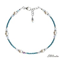 Opal Teal Pearl Bali Beaded Anklet