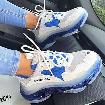 Balenciaga Shoes High Quality Fashion Women Men Letters Contrast Crystal clear shoes Triple sole Shoes
