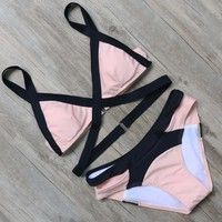 2017 latest Sexy bandage secret bikini sets Swimwear Beach Comfortable split color swimsuit sexy spa suits  -0306