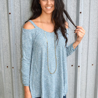 Don't Leave Me In the Cold Shoulder Tee- Teal