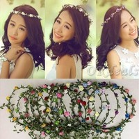 Party Wedding Bridesmaid Floral Flower Festival Forehead Headband Hair Garland [7981078599]