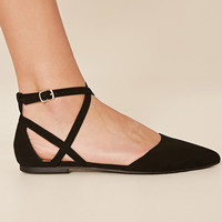 Faux Suede Ankle-Strap Flats