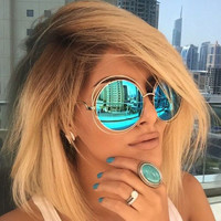 Vintage Round Big Oversized lens Mirror Brand Designer Pink Sunglasses Lady Cool Retro UV400 Women Sun Glasses  Female