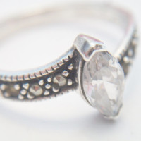 marquise shaped White Topaz and Marcasite ring size 8.5, .925 Sterling Silver, bypass ring