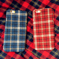 Check Cloth Case Cover for iPhone 7 7Plus & iPhone se 5s 6 6 Plus +Gift Box