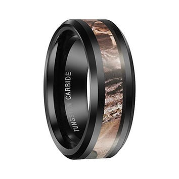 8mm Black Tungsten Carbide Men's Ring Camo Camouflage Hunting Wedding Band