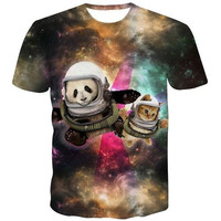 All Over Print Panda's In Space & Cats In Space T Shirt