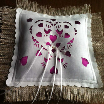 Wedding Ring pillow with satin and pearls, Custom colors available