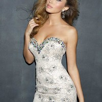 Night Moves 7035 Lace Strapless Mini Dress