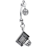 Handcrafted Shooting Hoops Basketball Double Mount Belly Ring | Body Candy Body Jewelry
