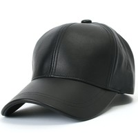 ililily Genuine Leather Precurved Bill Baseball Cap with Snapback (ballcap-575)