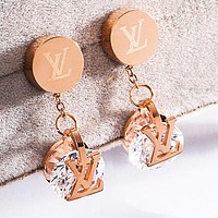 LV Louis Vuitton New Women Shiny Diamond Pendant Earrings Accessories Jewelry