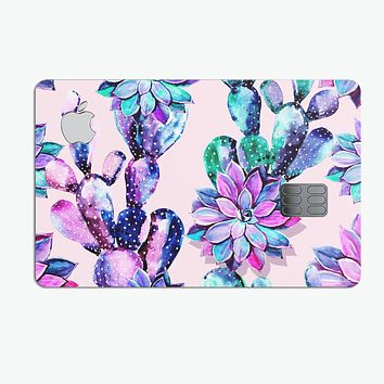 Watercolor Cactus Succulent Bloom V15 - Premium Protective Decal Skin-Kit for the Apple Credit Card