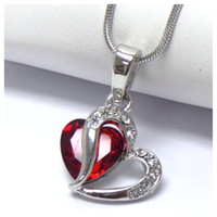 """""""Always in My Heart"""" Beautiful Rhinestone Accented Hugging Hearts Necklace"""