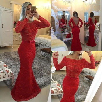 Mermaid Boat Neck Beaded Dresses Long Sleeves Evening Gowns Long Red Evening Dress See Through Back Lace Formal Dresses