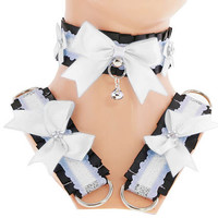 Black white satin kitten play collar and cuffs, lolita, ddlg, bdsm collar, kittenplay, pastel gothic kawaii, Pet play, puppy Princess D7
