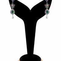 Fashion American Diamond Earrings in Red, White and Green Stones