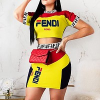 Fendi New fashion letter print contrast color top and skirt two piece suit