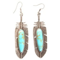 Women's Loulabelle Silver Feather Turquoise Earrings
