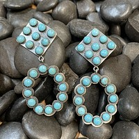 Genuine Sterling Silver & Turquoise Diamond Earring