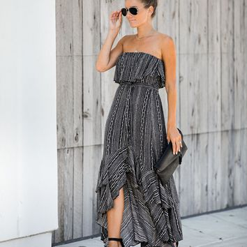 Far From Home Strapless Ruffle Tie Dress