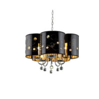 5-Light 23'' Polished Chrome Incandescent Chandelier With Flower Shaped Drum With Hanging Crystals
