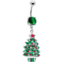 Emerald Green Gem Holiday Christmas Tree Belly Ring | Body Candy Body Jewelry