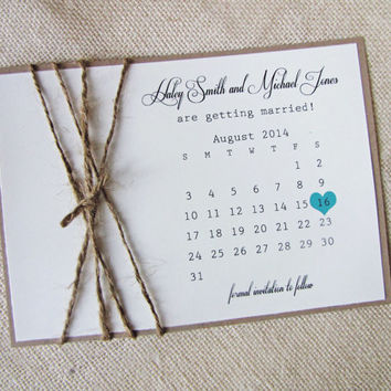 Rustic Burlap Twine Save the Date Calendar Card