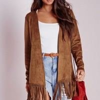 Missguided - Faux Suede Jacket with Fringe Hem Tan