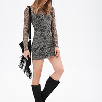 FOREVER 21 Ornate Floral Mesh Dress Black/Taupe