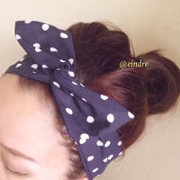White on Navy Polka Dot Dolly Bow Headband