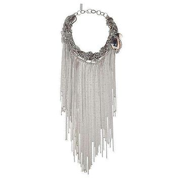 Fringes Statement Necklace with Agate Stone.