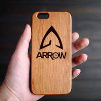 The Arrow Man Cherry Wood One Piece iPhone 6 6s Case , Wood Phone Case for iPhone 6 6s , Custom Wood iPhone 6 6s Case , Valentine's Gift