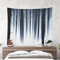 Wall Tapestry With Moody Winter Forest Print, Nature Photography, Large Wall Art, Forest Wall Decor, Home Decor, Woods, Fine Art, Dorm Decor