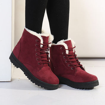 Women Winter Boots Fashion Women Boots Botas Mujer Fur Snow Boots Women Ankle Boot Flat Heels Winter Shoes Warm Snow Shoes
