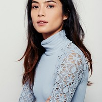 Free People Rib and Lace Turtleneck