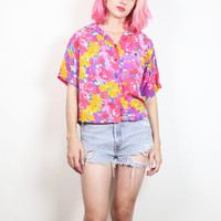 Vintage 1980s Floral Print Top Pink Purple Yellow Watercolor Crop Top Collared Shirt Button Down Boxy Cropped Tee 80s New Wave S M Medium L