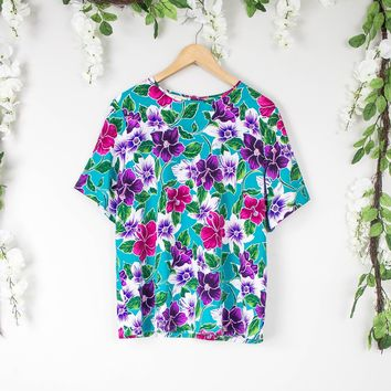 Vintage Teal Hawaiian Top