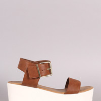 Soda Leatherette Open Toe Flatform Wedge Sandal