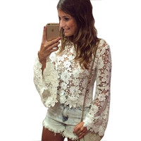 Crochet Lace Blouse Sexy O-neck White Trumpet Long Sleeve Women Blouses blusas femininas 2015 Casual Women Tops OSN18002