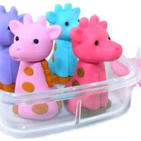Iwako Japanese Erasers In A Mini Bento Box - Giraffe