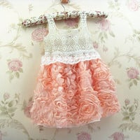 Peach Flower Girl Lace Dress Girls Vintage Lace Dress
