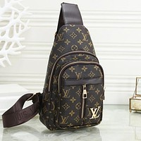 LV Louis Vuitton Fashion Women Men Leather Backpack Bookbag Daypack Satchel Chest Bag