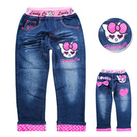 NEW children's jeans kids pants 100% cotton cartoon clothing girls jeans hello kitty children's clothing free shipping