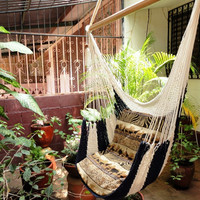 Beige and Navy Sitting Hammock Hanging Chair Natural by hamanica