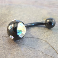 Black Belly Button Jewelry Ring with Aurora Borallis Crystals