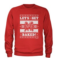 Let's Get Baked Gingerbread Man Smoking Adult Crewneck Sweatshirt