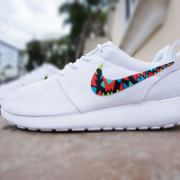Womens custom Nike Roshe run, Tribal design, White with color, cute design, womens custom sneakers, red, blue, teal, lime, kiwi, yellow