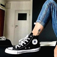 Converse Black Fashion Canvas Flats Sneakers Sport Shoes High tops